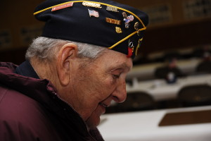 Past Commander and WWII Honoree, Nelson Read bows his head during the prayer remembering those who have gone before us.