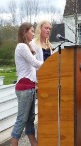 Ellie and Abby, 8th grade Orators recite the Gettysburg Address.