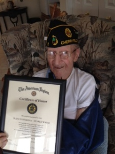 Francis J. Pinkham, a 44 year member of the Post was honored by a Certificate of Honor and a WWII Victory Challenge Coin for his Army service in Europe during WWII.